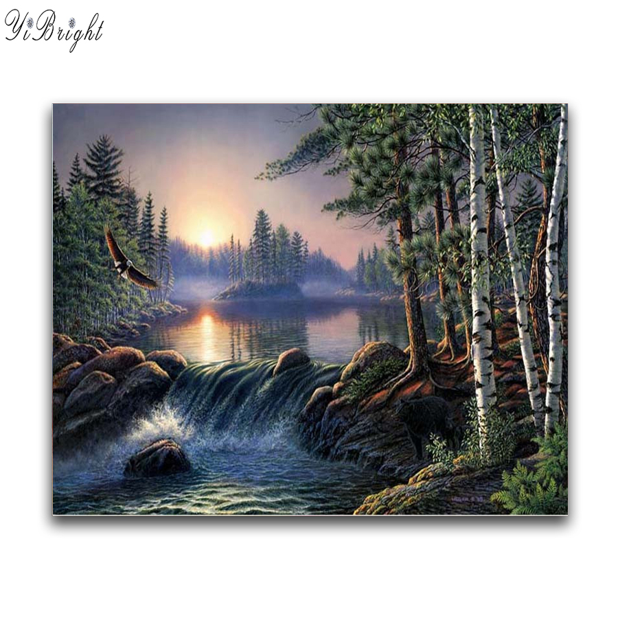 DIY Diamond Painting Cross Stitch Kits Diamond Embroidery Forest Nature River Full Squar ...
