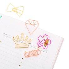 5 шт/лот милые розовые золотые бумажные зажимы закладки металлические