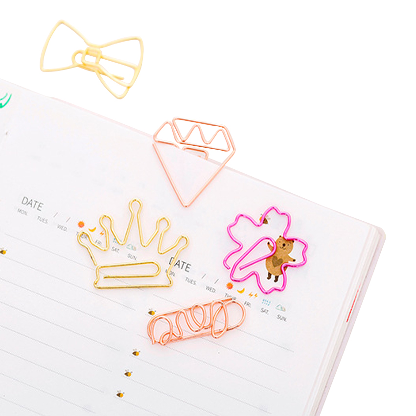 5pcs/lot Cute Rose Gold Paper Clips Bookmark Metal Binder Mini Paper Clip Book Markers  Gift Stationery School Office Supply