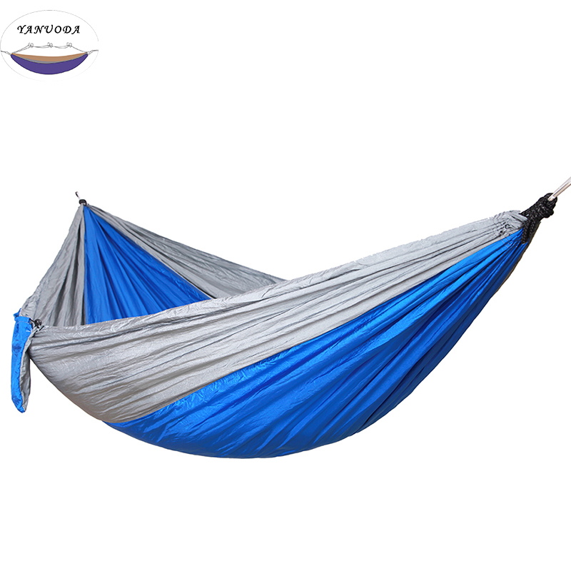 Double Folding Hammock 260*140cm High Strength Portable Camping Furniture Outdoor Travel Kits Stit Hamac Hamaca