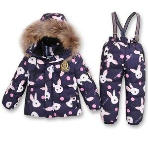 Image 4 - Boys Winter Snowsuit Fur Winter Girl Suit Duck Down Children Boys Clothing Sets Warm Toddler Down Parka Jacket Coat Snow Wear