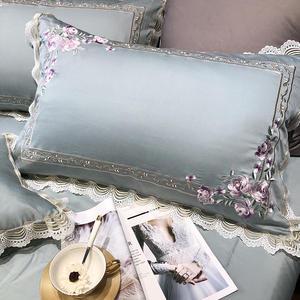 Image 4 - Роскошный комплект постельного белья из египетского хлопка королевского размера с вышивкой, пододеяльники, классический синий розовый комплект постельного белья