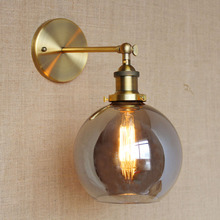 RH American Country Vintage Wall Lamp Lights Fixtures Glass Ball Retro Loft Industrial Wall Sconces Wandlamp Arandela De Parede the nordic country american industrial loft personality rh simple bedside aisle stairs transparent glass wooden wall lamp