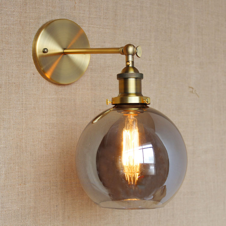 RH American Country Vintage Wall Lamp Lights Fixtures Glass Ball Retro Loft Industrial Wall Sconces Wandlamp Arandela De Parede glass american retro vintage wall lamp bedroom aisle style loft industrial wall lights fixtures rustic sconces aplik lamba