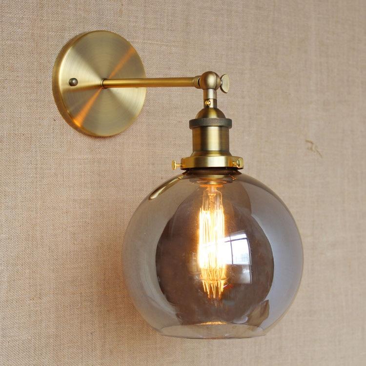 RH American Country Vintage Wall Lamp Lights Fixtures Glass Ball Retro Loft Industrial Wall Sconces Wandlamp Arandela De Parede
