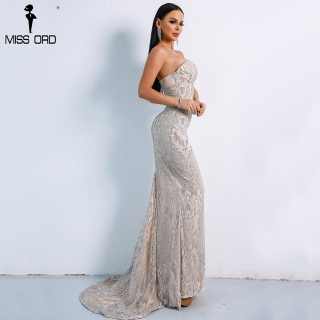Missord 2019 Sexy Elegant Christmas Off Shoulder Glitter Backless  Geometry Female  Floor-Length Party Dress  FT8911-1 1