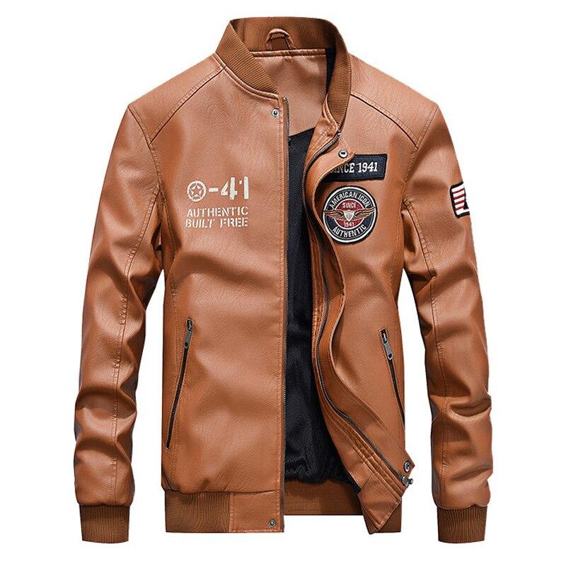 Winter Jacket Men Clothes 2019 Leather Thick Warm Winter Coat Men Baseball Collar Faux Fur Coat Mens PU Leather Jacket Coat