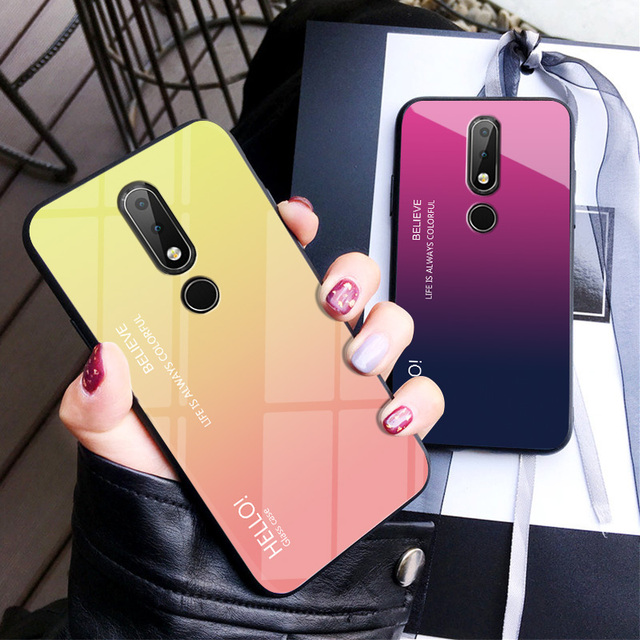 premium selection a7ebc ec387 US $2.81 6% OFF|For Nokia 7.1 Case Luxury Hard Tempered Glass Gradient  Protective Back Cover case For Nokia 7.1 full cover phone shell housing-in  ...