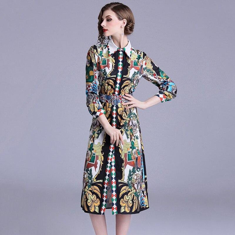 2018 Autumn Designer Runway Shirt Dress Long Sleeve Vintage Print Button Down Straight Dress Women's Turn Down Collar Belt Dress Discounts Sale