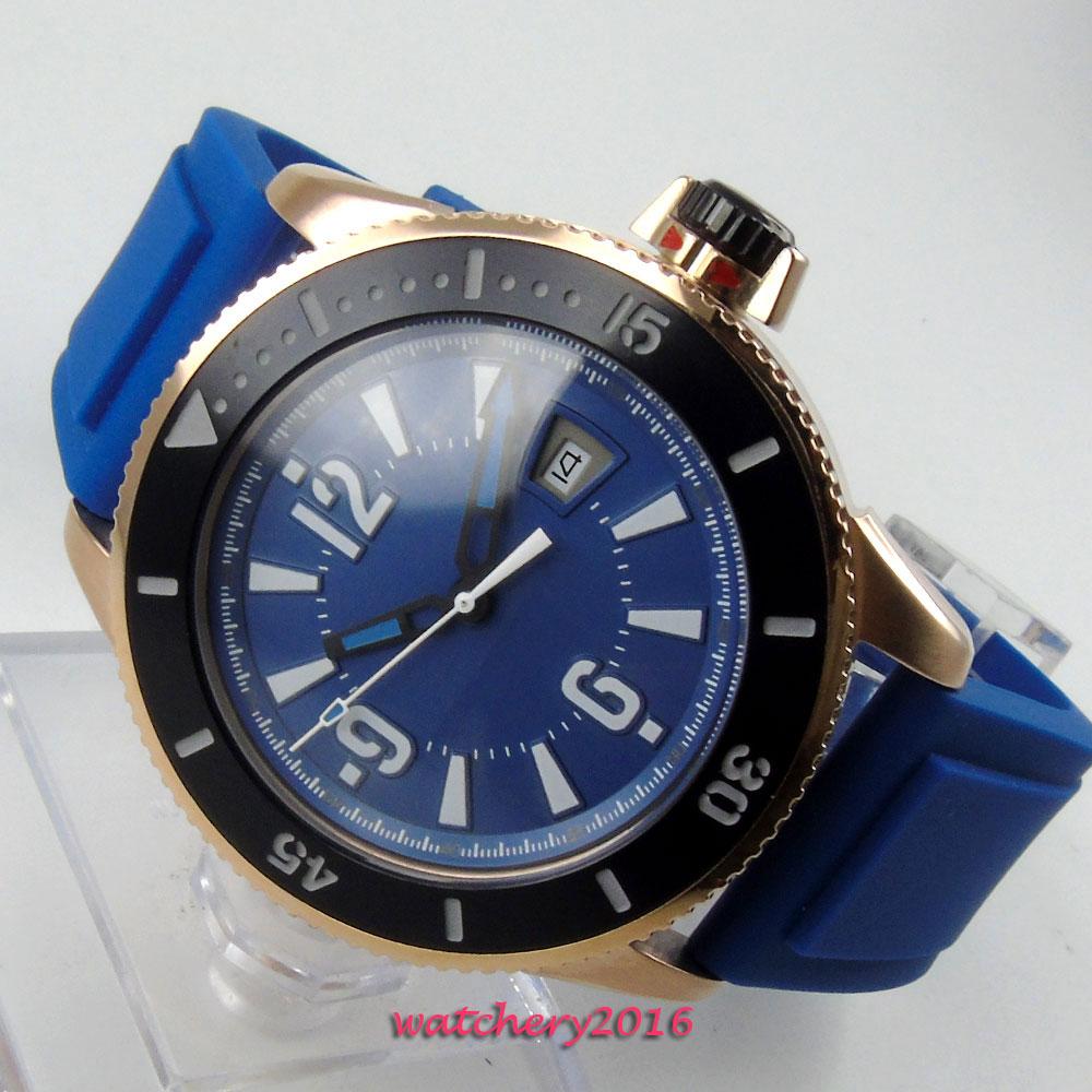 цена 43mm Bliger Blue dial Rose Golden Case Blue Marks Rubber strap Date Window miyota Automatic Movement Men's Mechanical Wristwatch онлайн в 2017 году