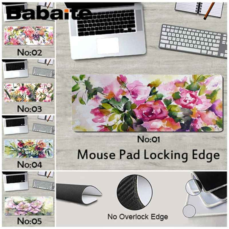 Babaite Your Own Mats Floral watercolor flower laptop Gaming mouse pad rubber for cs dota 2 LOL gaming mouse pad free mouse pad