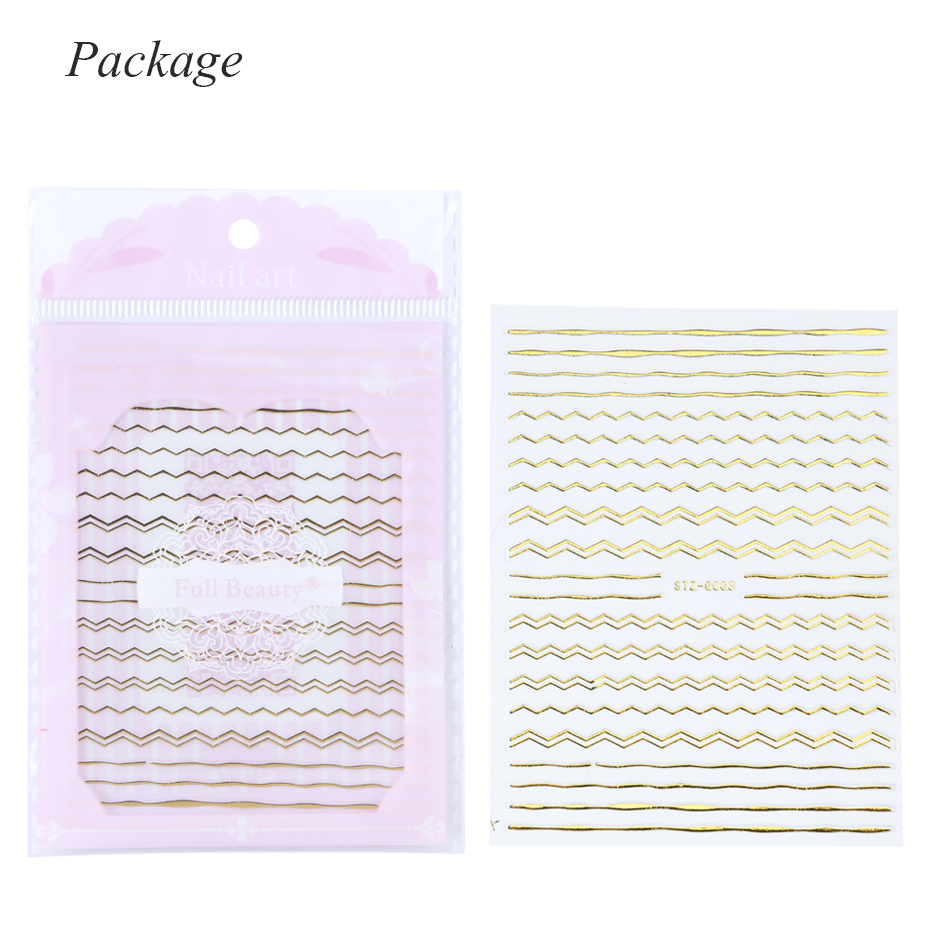 Image 5 - Gold 3D Nail Art Stickers Decals Geometric DIY Curve Stripes Line Foils for Nails Sticker Manicure Adhesive Tips CHSTZG001 013-in Stickers & Decals from Beauty & Health