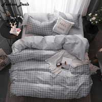 Fashion Gray Plaid Bedding Set Queen Size Comforters Sets Bed Set Sheet, Pillowcase & Duvet Cover Sets Polyester / Cotton 4 Pcs