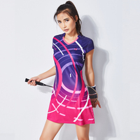 New Summer Badminton Dress Women's Suit Short sleeved Quick drying Sports Clothing Tennis Dress with Safety Short
