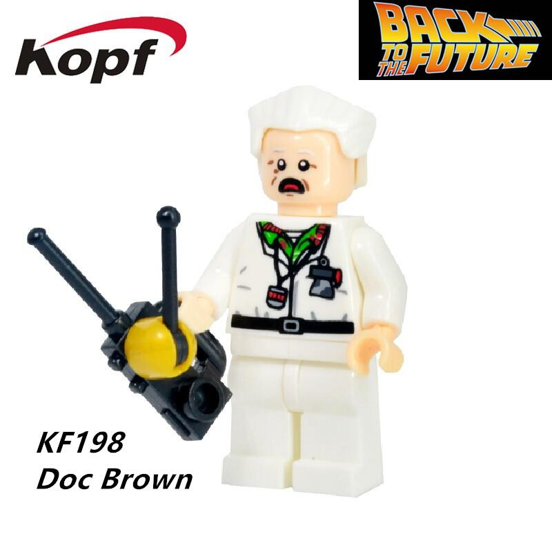 Building Blocks Super Heroes Doc Brown and Marty McFly With Skateboard Back To The Future Indiana Jones Bricks Kids Toys KF198
