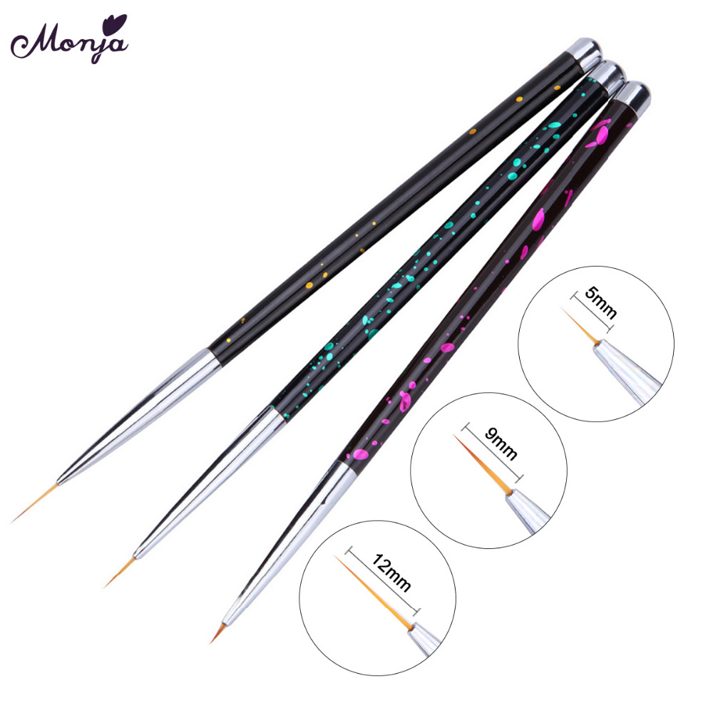 Monja 3pcs 5/9/12mm Metal Nail Art French Stripes Lines Flower Painting Drawing Liner Brush Pen Manicure Tools Kit