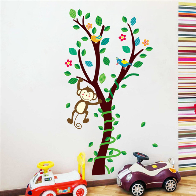 Safari Monkey Playing On The Tree Wall Stickers For Kids Rooms - Wall decals kids roomcartoon monkey climbing flower vine wall decals kids room nursery