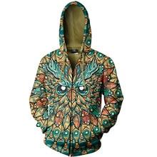 Cloudstyle Männer 2020 3D Zip Up Hoodies Tier Eule 3D Volle Druck Hoody Sweatshirt Streetwear Jacke Beliebte Plus Größen 5XL outwear