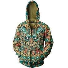 Cloudstyle Men 2020 3D Zip Up Hoodies Animal Owl 3D Full Print Hoody Sweatshirt Streetwear Jacket Popular Plus Sizes 5XL Outwear