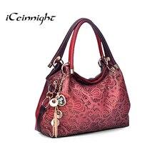 ICeinnight Женщин элегантные сумки 2016 роскошный pu кожаные сумки сумочка выдалбливают сумка алмазный кулон красный плеча дамы