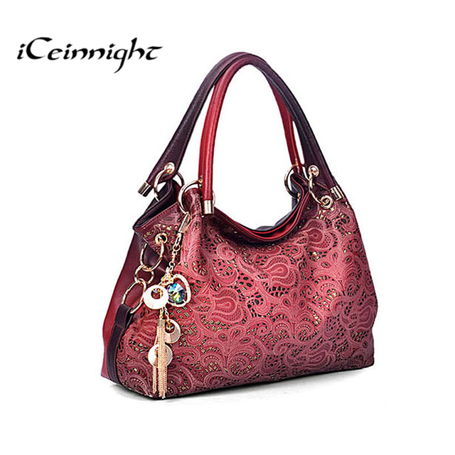 iCeinnight Women elegant bags 2017 luxury pu leather bags handbag hollow out messenger bag diamond pendant red shoulder ladies