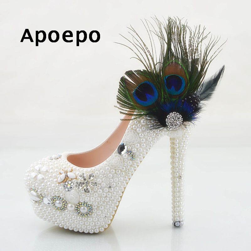 Apoepo Newest Colorful Feather Decoraitons high Heel Shoes White Crystal Platform Pumps Woman sexy wedding heels big size shoes newest solid flock high heel pumps woman