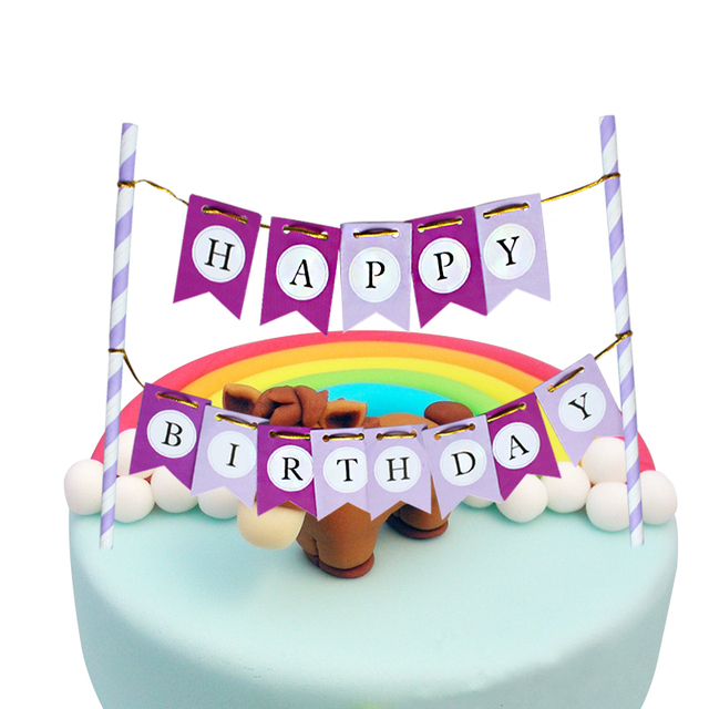 Happy Birthday Cake Bunting Banner Kit Topper Pueple DIY Decoration FUNNY