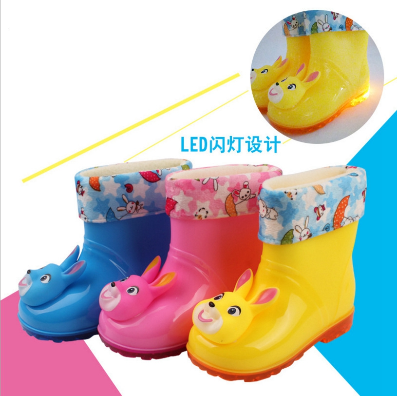 2017 baby new led cute candy color childrens boots and ring with dual-use shoes ...