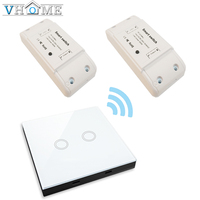 Vhome Wireless RF 433mhz Universal Touch Remote Control 2 Gang Glass Panel Transmitter Controller And Relay