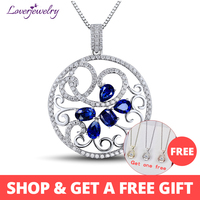 LOVERJEWELRY Pendant For Women Attractive Women Blue Sapphire Diamond Pendant 18K White Gold 2.44ct Gemstone Flower Pendant