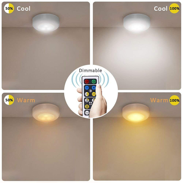 Xsky Under Cabinet Light Wireless Dimmable Touch Sensor LED Night Lamps Battery Power Remote Control Suitable for Kitchen Stair