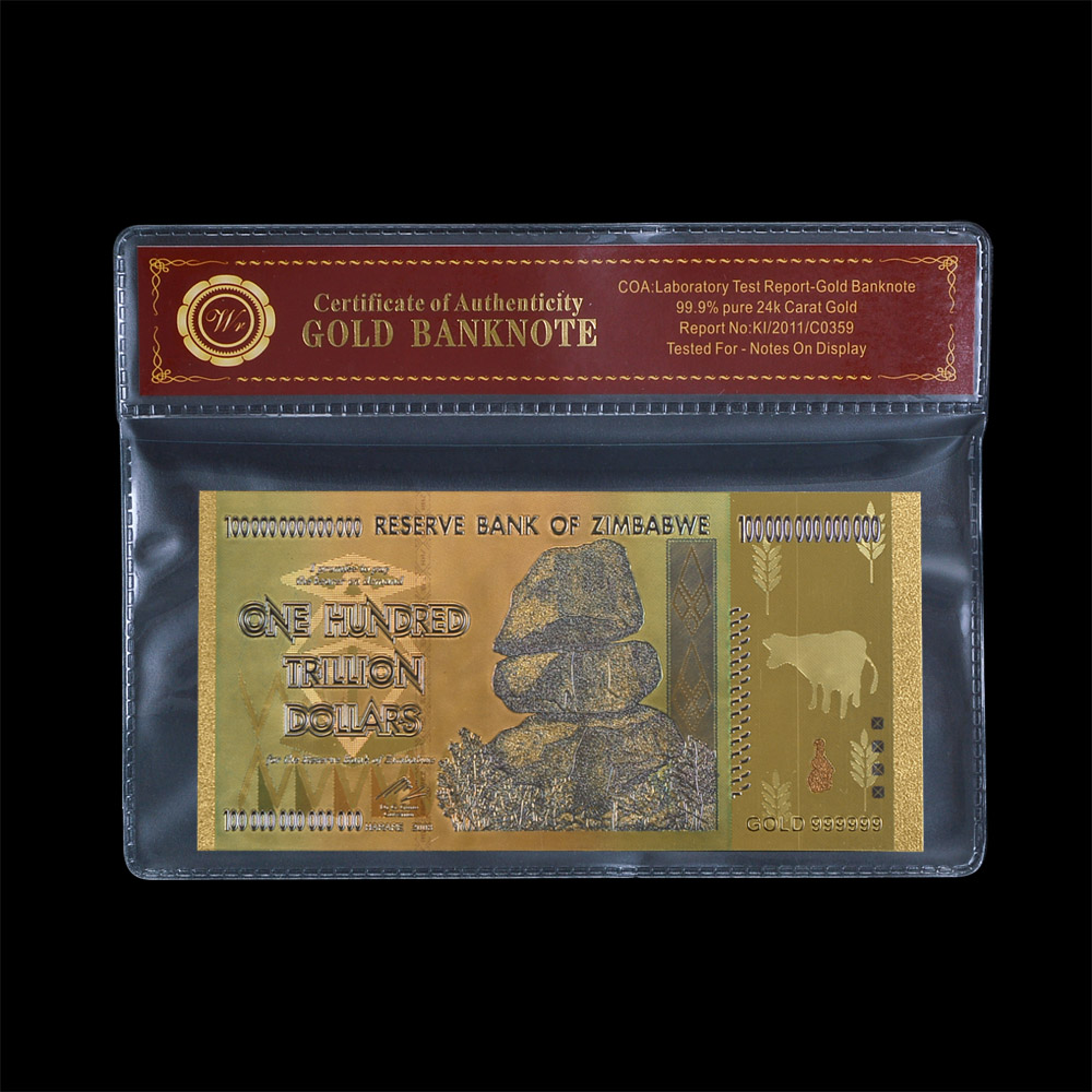 Wr Gold Decorations Zimbabwe Banknote Collectible Best Souvenirs One Hundred Trillion Foil Bill Note In Coa 1