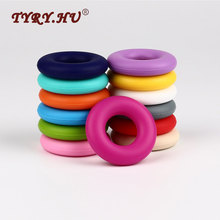 TYRY.HU Original 43*43mm Donut Silicone Pendant Candy Color Baby Teethers Silicone Beads For DIY Necklace Pacifier Chain Ring