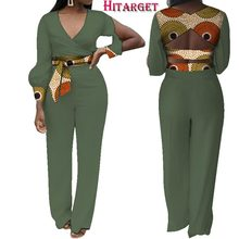 African Print Women Jumpsuit Loose V-Neck Long Bubble Sleeve Sexy Romper Wide Leg Pants African Ladies Jumpsuits Rompers  WY3863 цена