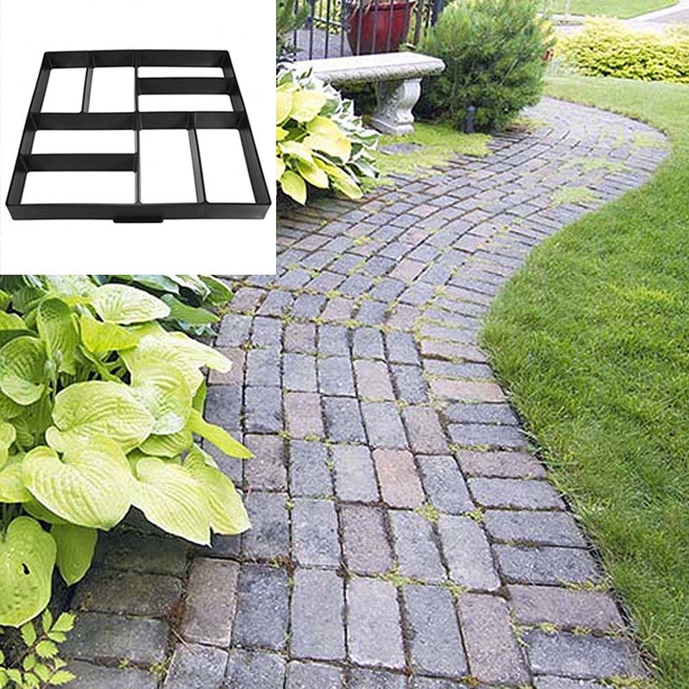 Garden DIY Plastic Path Maker Pavement Model Concrete Stepping Stone Cement Mould Brick E2S