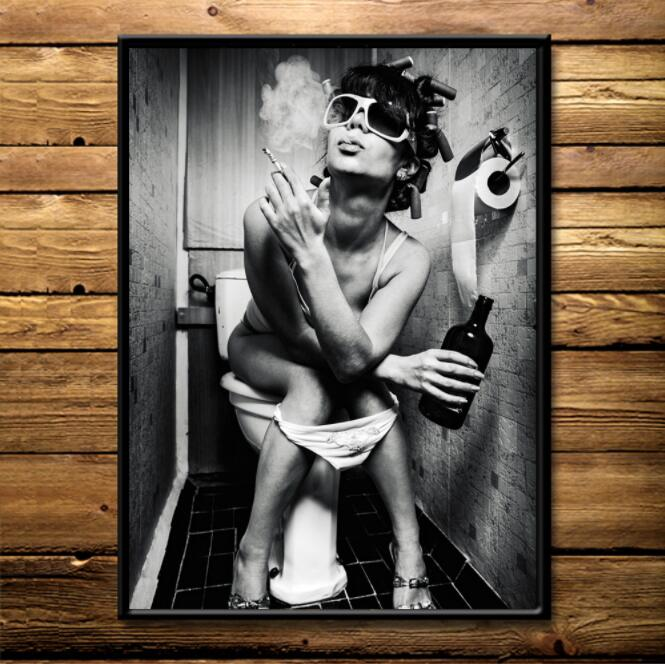Modern Sexy Charming Woman Beauty Canvas Painting Toilet Bar Home Decoration Art Poster Wall Pictures PUB bathroom decoration(China)