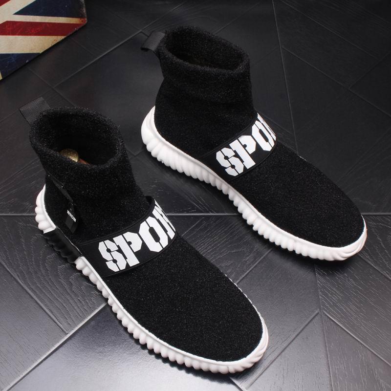 Dos Alta Meia Top Boots Elástico Moda Curto Vogue Ankle Preto Sapatos De Homens Deslizar Pretos Sobre Luxo Errfc Britânico Casuais Homem Rebanho Da RSFRXE