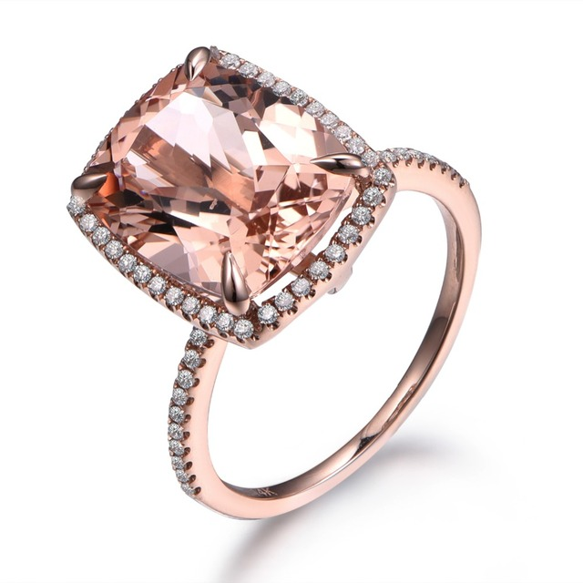 MYRAY 14 k Rose Or 10x12mm Naturel Coussin P    che Rose Morganite     MYRAY 14 k Rose Or 10x12mm Naturel Coussin P    che Rose Morganite Diamant  Bague de Fian    ailles De