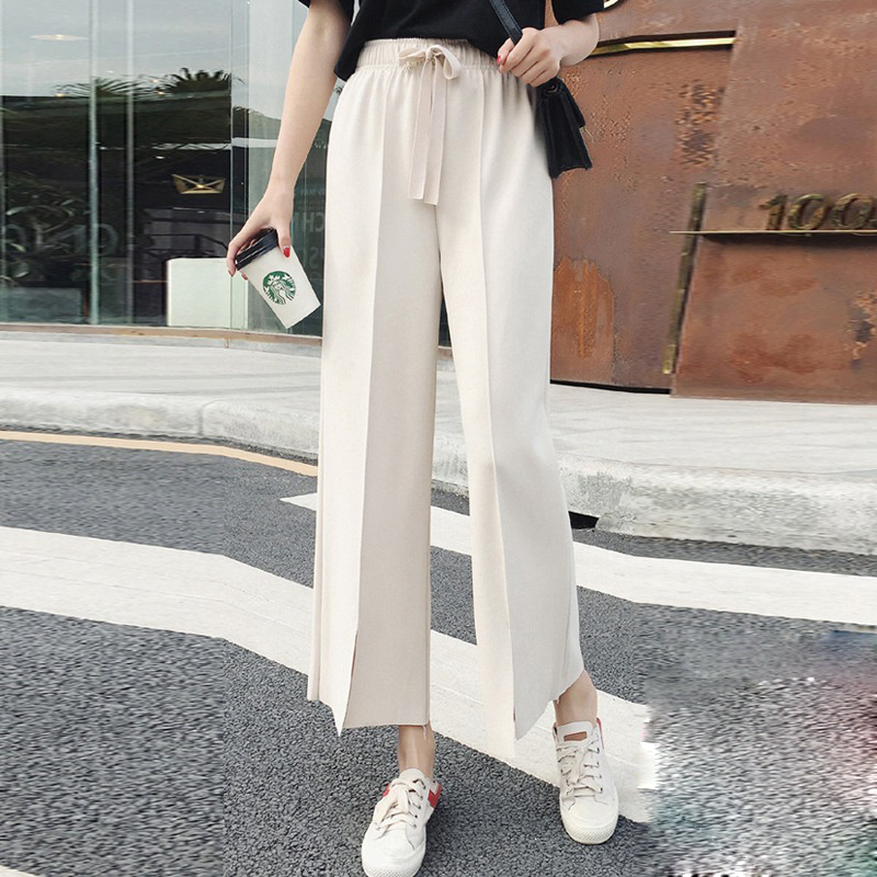 Wide     Leg     Pants   Women Summer Casual Loose Palazzo   Pant   Female Lace Up High Waist split Trousers Plus Size Femme