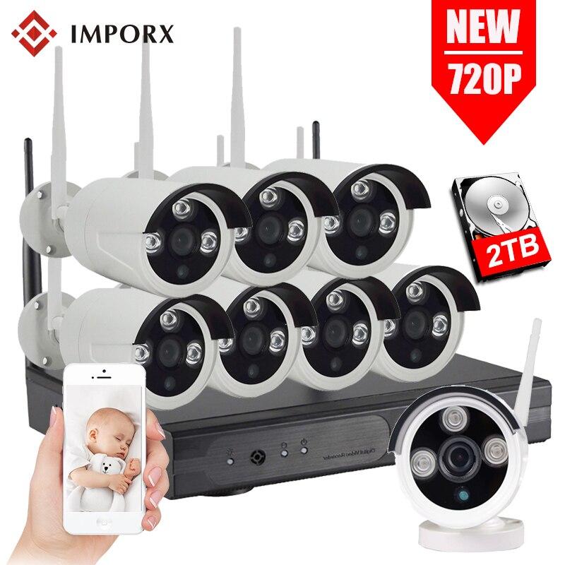 8CH WIFI CCTV Système Sans Fil NVR Kit 4 pcs 720 p 8 pcs IP Caméra 1MP Extérieure Étanche de Sécurité À Domicile système de Surveillance Kit