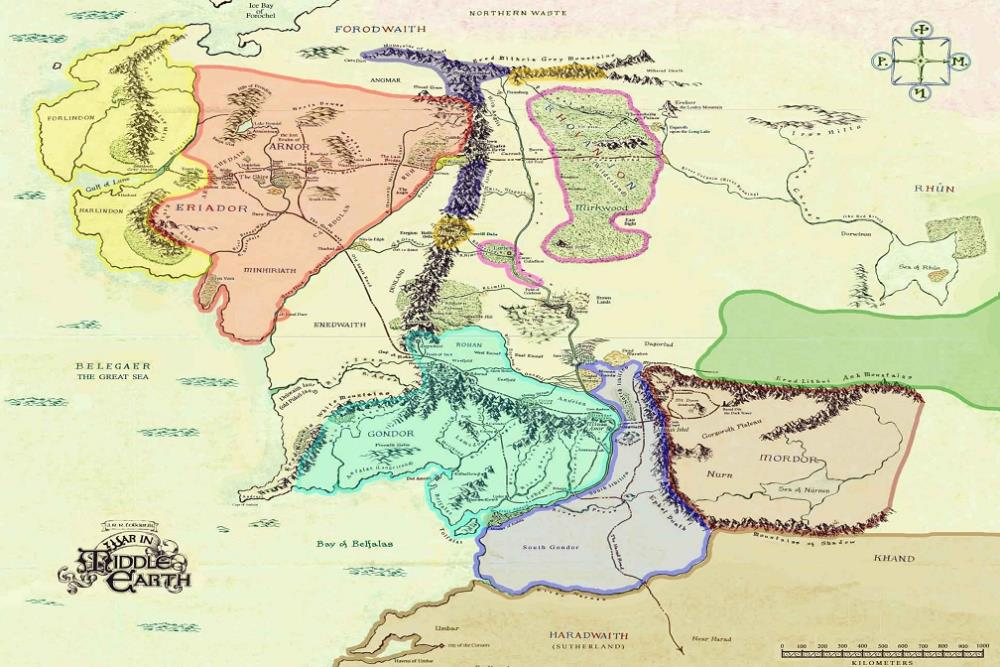 Map Of Middle Earth The Lord Of The Rings Nice Silk Fabric Cloth ...