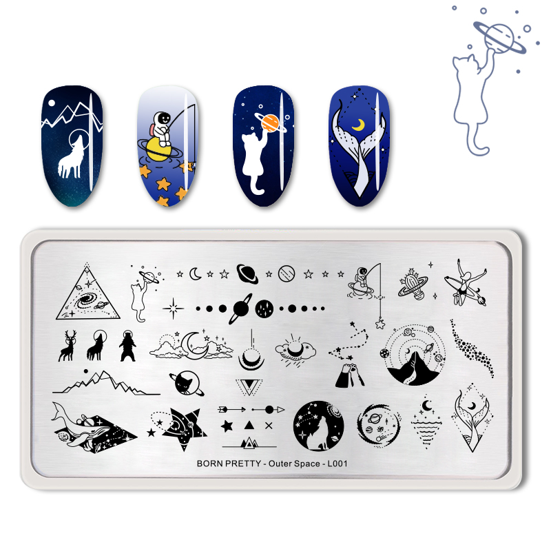 <font><b>BORN</b></font> <font><b>PRETTY</b></font> Nail Stamping Plate Solar System Rectangle Stainless Steel Nail Image Stencil Outer Space Design <font><b>L001</b></font> image