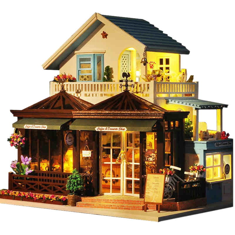 IIECREATE Large Coffee Wooden Doll House Manual Assembling Model Toys Diy Wooden Hut House With Led Light Small Tools BirthdayIIECREATE Large Coffee Wooden Doll House Manual Assembling Model Toys Diy Wooden Hut House With Led Light Small Tools Birthday