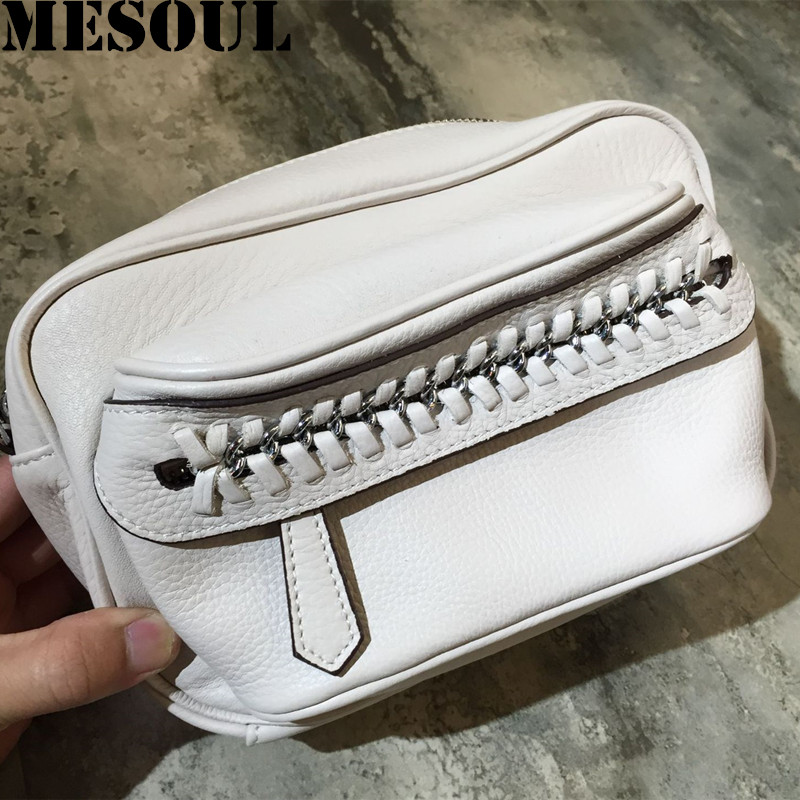 MESOUL Brand Fashion Women Genuine Leather Shoulder Bag Female Braided chains Small Bag High Quality Messenger