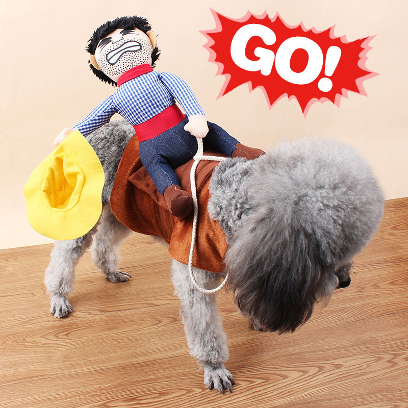 Riding Horse Dog Costume Funny Apparel Dog Clothes Halloween Party Cosplay Cowboy Dog Clothing Coat