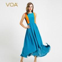 VOA Cyan High-End Heavy Silk Summer Beach Dress New Female Stitching Color Slim Irregula Ankle Vestido A6682