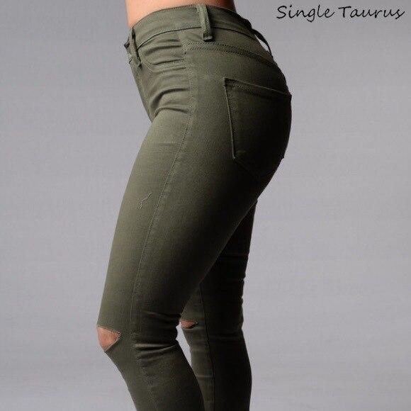 Europe America Elasticity Slim Skinny   Jeans   Women Fashion Hollow Out Knee Hole Denim Pantalon Femme Push Up Vintage Pencil Pants