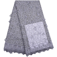 Beautiful Gray Wedding Lace Fabric 3D Flowers French African Lace Fabrics For Dresses Beads Tulle Lace Nigerian Fabric 1291