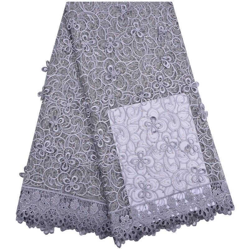 Belle Gris De Mariage tissu en dentelle 3D Fleurs Français Africain tissu en dentelle s Pour Les Robes Perles Tulle Dentelle Nigérian Tissu 1291
