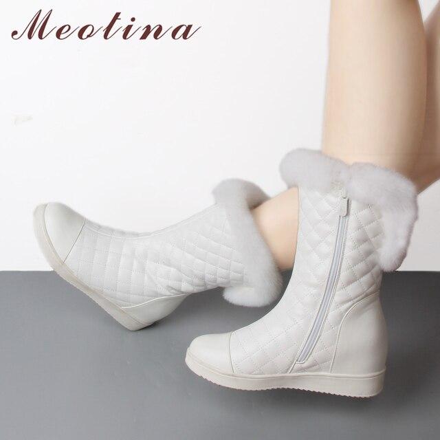 Meotina 本物のウサギの毛皮ミッドカーフブーツ女性プラットフォームウェッジブーツ冬の雪のブーツぬいぐるみウォームジッパー黒、赤、白サイズ 33-41